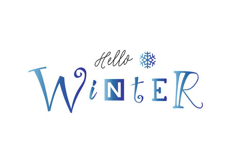 Lettering of Hello winter with different letters in blue gradient and snowflake on white background for decoration, poster, banner, decor, calendar, postcard, sticker, scrapbooking