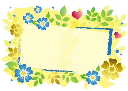 Decorative frame with blue and golden flowers, green leaves. dots and pink hearts on yellow background for decoration, poster, text, lettering, advertising, banner, wedding invitation, photo, greeting