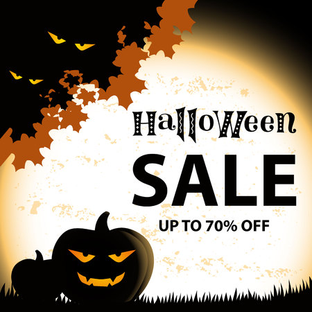Lettering of Halloween SALE up to 70 percent off in black on square background with orange textured giant moon, pumpkins, foliage and eyes of monsters for advertising, shop, leaflet, banner, poster Stock Illustratie