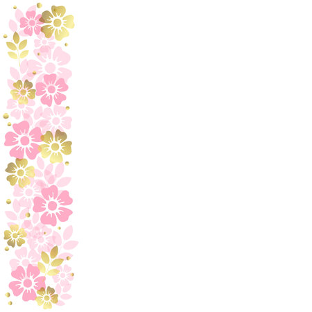 White background with stripe of pink and golden flowers and leaves on the left side for decoration, invitation or wedding, poster, valentines day, valentine, lettering or text, advertising,flower shop
