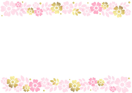 White background with stripes of pink and golden flowers and leaves align top and below for decoration, invitation or wedding, poster,valentines day,valentine, text,flower shop,advertising,certificate Иллюстрация