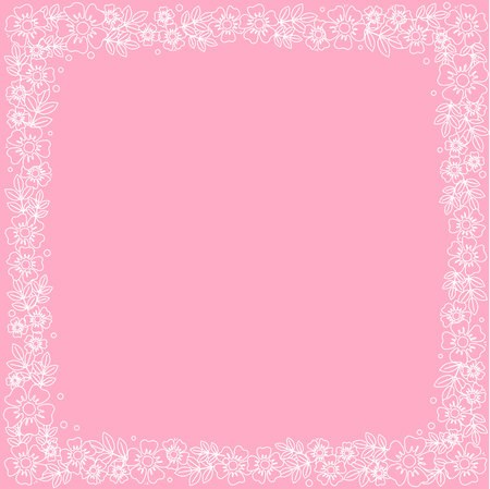 Decorative square frame of white outline flowers and leaves on pink background for decoration, invitation or wedding, poster, valentines day, valentine, lettering or text, advertising, flower shop