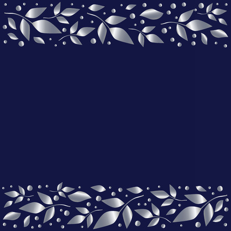 Blue background stylized as blue velvet with decorative stripes align top and below with silver leaves and dots for decoration, scrapbooking paper, wedding invitation,greeting card,text, cover of book