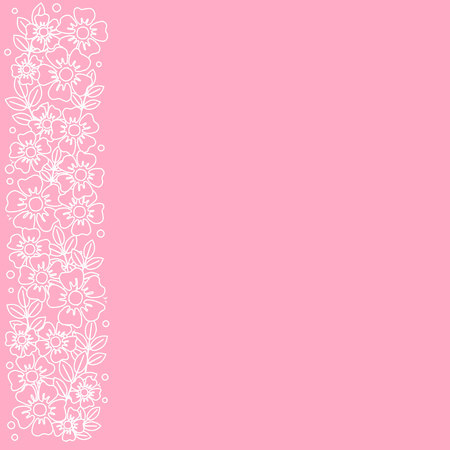 Pink background with stripe of white outline flowers and leaves on the left side for decoration, invitation or wedding, poster, valentines day, valentine, lettering or text, advertising, flower shop