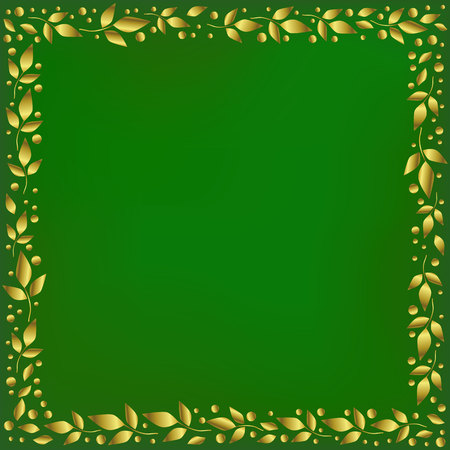 Green square background stylized as velvet with decorative frame of golden leaves and dots for decoration, scrapbooking paper, wedding invitation, greeting card,text,family tree, certificate,diploma
