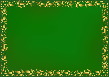 Green background stylized as velvet with decorative frame of golden leaves and dots for decoration, scrapbooking paper, wedding invitation, greeting card, text, family tree, certificate, diploma