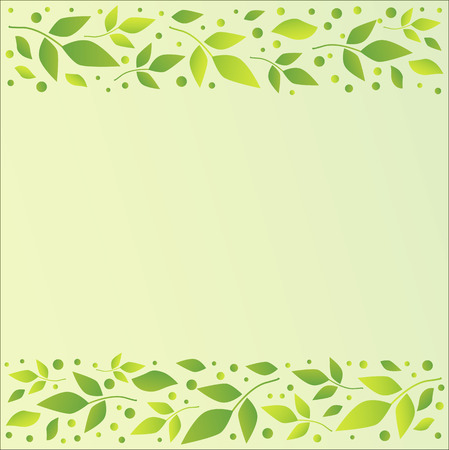 Light green background with decorative stripes align top and below with green leaves and dots for decoration, scrapbooking paper, sheet of book or notebook, wedding invitation, greeting card, text