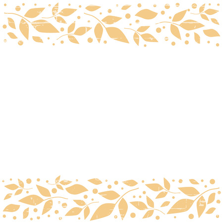 White square background with decorative stripes align top and below with orange leaves and dots for decoration, scrapbooking paper, sheet of book or notebook, wedding invitation, greeting card, text