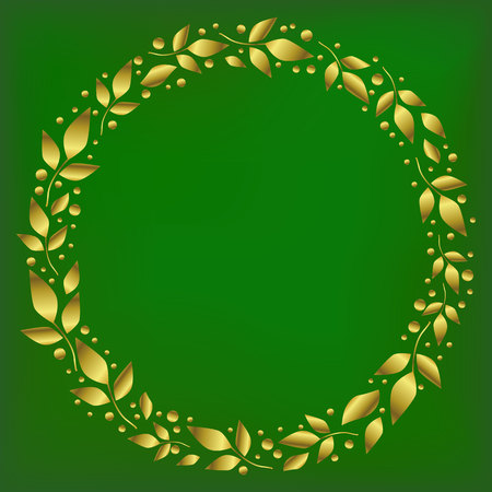 Square background stylized as green velvet with decorative circle frame of golden leaves and dots for decoration, scrapbooking paper, sheet of book or notebook, wedding invitation, greeting card, text
