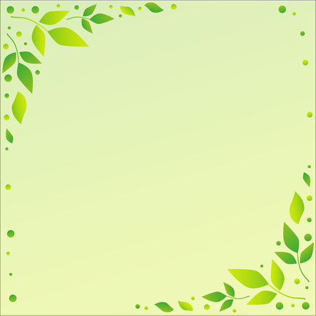 Light green background with decorative edges with green leaves and dots for decoration, scrapbooking paper, sheet of book or notebook, wedding, invitation, greeting card, text