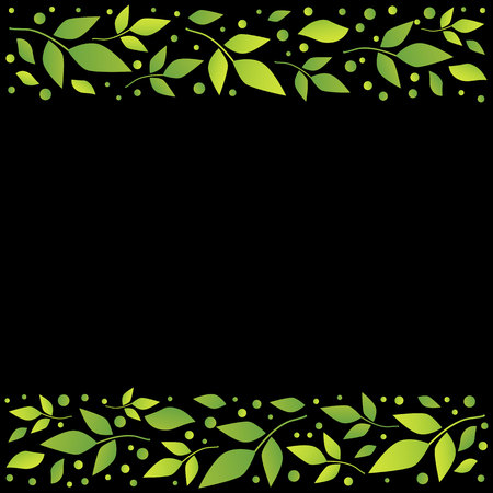 Black square background with decorative stripes align top and below with green leaves and dots for decoration, scrapbooking paper, sheet of book or notebook, wedding invitation, greeting card, text Иллюстрация