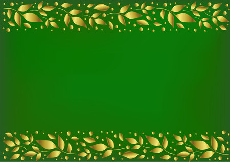 Green background stylized as velvet with decorative stripes align top and below with golden leaves and dots for decoration, scrapbooking paper, wedding invitation, greeting card, text, cover of book