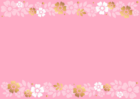 Pink background with decorative stripes align top and below with golden and white flowers and leaves for decoration, scrapbooking paper, wedding, invitation, greeting card, text, certificate Иллюстрация