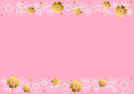 Pink background with decorative stripes align top and below with golden and white outline flowers and leaves for decoration, scrapbooking paper, wedding, invitation, greeting card, text, certificate