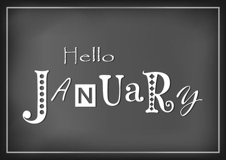 Lettering of Hello January with different letters in white on dark background stylized as chalk lettering for calendar, sticker, decoration, planner, diary, poster Иллюстрация