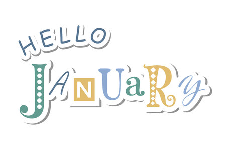 Colorful lettering of Hello January with different letters in blue and yellow in paper cut style with shadow on white background for calendar, sticker, decoration, planner, diary, poster Illustration