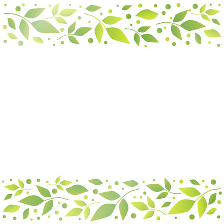 White square background with decorative stripes align top and below with green leaves and dots for decoration, scrapbooking paper,wedding invitation, greeting card, text,cover of book, notebook