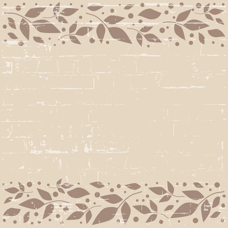 Brown textured square background with decorative stripes align top and below with brown leaves and dots for decoration, scrapbooking paper, sheet of book or notebook, wedding invitation, greeting card