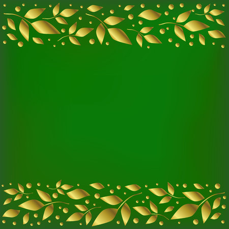 Green background stylized as velvet with decorative stripes align top and below with golden leaves and dots for decoration, scrapbooking paper, wedding invitation, greeting card, text, cover of book Иллюстрация