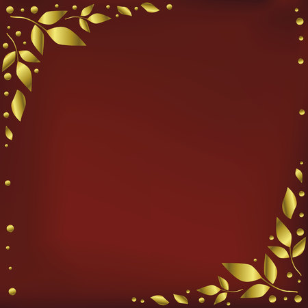 Red background stylized as red velvet with decorative edges with golden leaves and dots for decoration, holiday, scrapbooking paper, wedding, invitation, greeting card, text, gift tag Иллюстрация