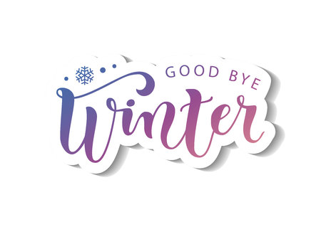 Modern calligraphy lettering of Good bye winter in pink purple in paper cut style on white background with white outline with shadow for decoration, poster, banner, greeting card, sticker, postcard Иллюстрация