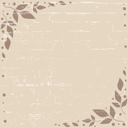 Brown background with decorative edges with brown leaves and dots and texture for decoration, holiday, scrapbooking paper, wedding, invitation, greeting card, text, gift tag, note paper, decoupage