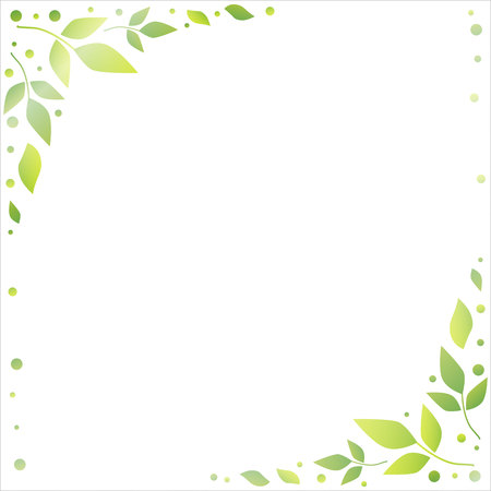 White background with decorative edges of green leaves and dots for decoration, holiday, scrapbooking paper, wedding, invitation, greeting card, text, gift tag, note paper, decoupage, poster, banner