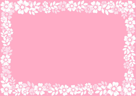 Pink background with decorative frame of white flowers and leaves for decoration, invitation or wedding, poster, valentines day, valentine, lettering or text, advertising, flower shop