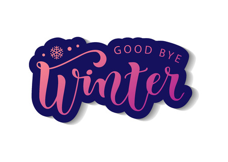 Modern calligraphy lettering of Good bye winter in pink in paper cut style on white background with dark blue outline with shadow for decoration, poster, banner, greeting card, sticker, postcard Иллюстрация