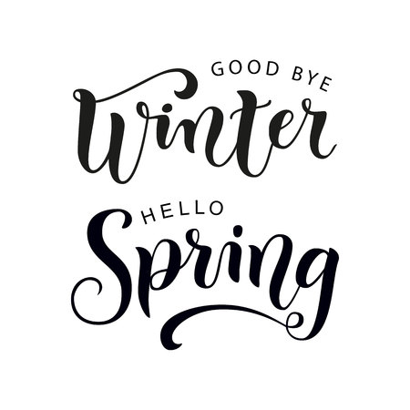 Modern calligraphy lettering of Good bye winter Hello spring in black on white background for decoration, poster, banner, greeting card, sticker Illustration