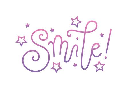 Nowoczesne odręczne kaligrafia napis Smile w różowy fioletowy gradient z gwiazdami na białym tle do dekoracji, plakatu, banera, kartki okolicznościowej, pocztówki, reklamy, motywacji, sloganu, motto