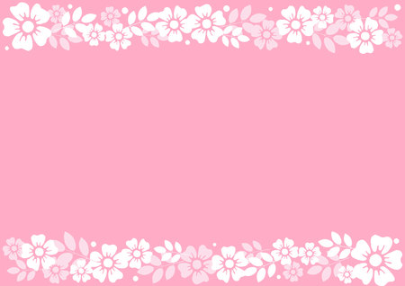 Pink background with decorative stripes align top and below of white flowers and leaves for decoration, scrapbooking paper, wedding, invitation, greeting card, text, certificate, mothers day, holiday Stock Illustratie