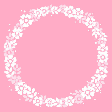 Decorative frame of white flowers and leaves in form of circle on pink background for decoration, invitation or wedding, valentines day, valentine,lettering, text, advertising, flower shop