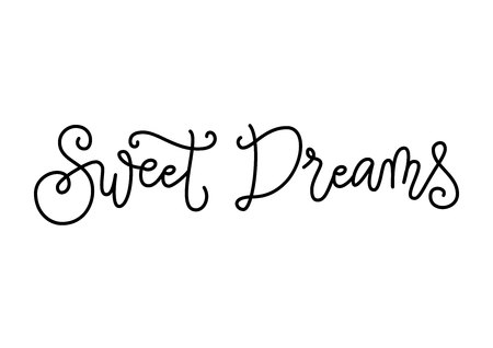 Modern handwritten calligraphy lettering of Sweet dreams in black isolated on white background for decoration, poster, banner, greeting card, postcard, advertising, holidays, valentine, valentines day