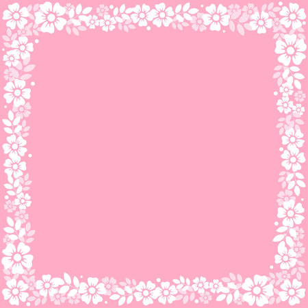 Pink square background with decorative frame of white flowers and leaves for decoration, invitation or wedding, poster, valentines day, valentine, lettering or text, advertising, flower shop, holiday
