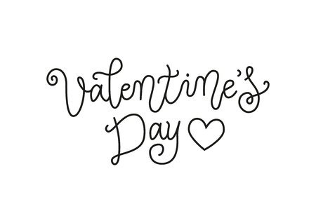 Modern calligraphy lettering of Valentines day in mono line style in black decorated with heart isolated on white background for decoration, poster, banner, valentine, greeting card, postcard