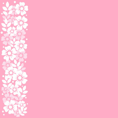 Pink background with stripe of white flowers and leaves on the left side for decoration, invitation or wedding, poster, valentines day, valentine, lettering or text, advertising, flower shop