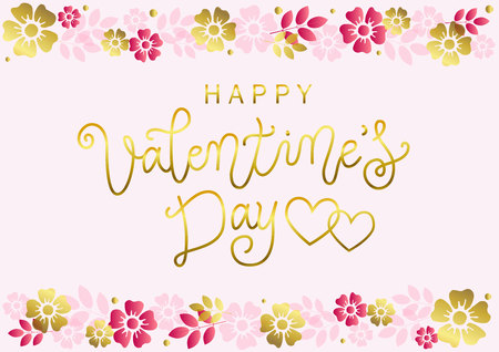 Modern calligraphy lettering of Happy Valentines day in golden on pink background decorated with border of pink and golden flowers for decoration, poster, banner, valentine, greeting card, invitation Illustration