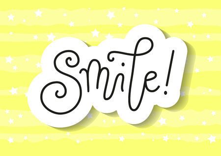 Modern handwritten calligraphy lettering of Smile in black in paper cut style on yellow background for decoration, poster, banner, greeting card, postcard, advertising, motivation, slogan, motto