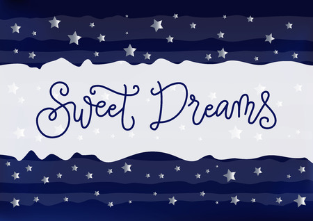 Modern handwritten calligraphy of Sweet dreams in dark blue on white blue striped background decorated with silver stars for decoration, postcard, poster, banner, bedside lamp, night lamp, bed room