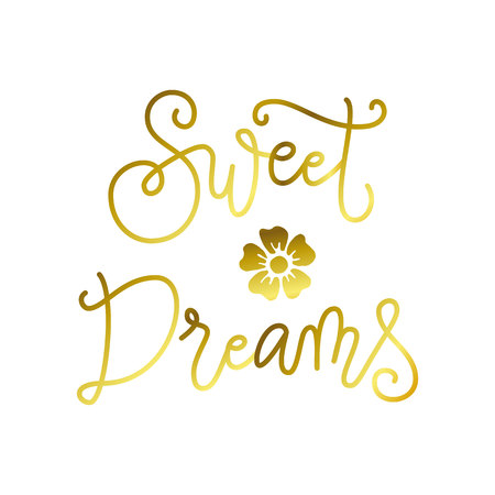 Modern calligraphy lettering of Sweet dreams in golden isolated on white background for decoration, poster, banner, greeting card,postcard, advertising,holidays,valentine, valentines day Imagens - 126964818