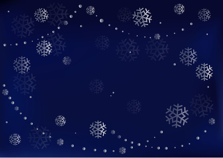 Dark blue velvet background decorated with silver snowflakes and pearls for decoration, greeting card, poster, banner, New Year, Christmas, postcard, advertising, cover, holiday