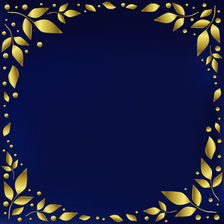 Blue background stylized as blue velvet decorated with golden leaves and dots in form of circle for decoration, scrapbooking paper, wedding invitation, greeting card, text, frame, family tree, cover