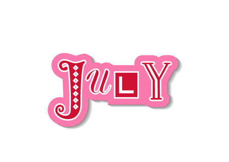 Hand drawn decorative colorful lettering of July with different letters in red with pink white outline and shadow on white for calendar, decoration, planner, diary, notebook, sticker, postcard Banque d'images - 118613091