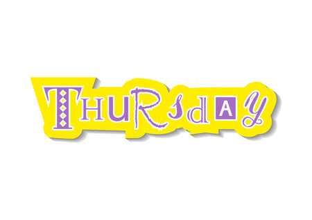 Lettering of Thursday for design, decoration, planner, diary, notebook, sticker, postcard. Banque d'images - 118613096