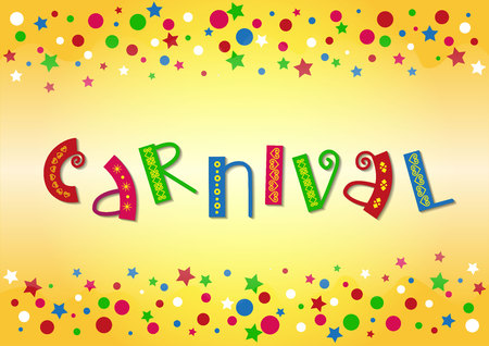 Decorative lettering of Carnival with ornament in green, red, pink, blue on orange background with stars and dots for decoration, poster, banner, invitation, advertising, postcard, greeting card