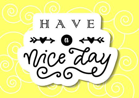 Lettrage de calligraphie moderne de Bonne journée en noir avec des flèches et des coeurs sur fond jaune pour la décoration, affiche, bannière, carte de voeux, étiquette cadeau, étiquette, cadeau, message, carte postale Vecteurs