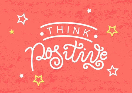 Modern calligraphy lettering of Think positive in white on coral background with stars for decoration, design, sticker, stamp, postcard, greeting card, gift tag, poster, motivation, psychology Illustration