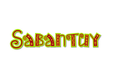 Hand drawn lettering of Sabantuy in red and green with yellow ornament on white background for national bashkir and tatar summer festival, advertisement, postcard, invitation, decoration Ilustracja