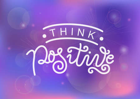 Modern calligraphy lettering of Think positive in white on purple pink background for decoration, design, sticker, logo, stamp, postcard, greeting card, gift tag, poster, motivation, psychology 矢量图像